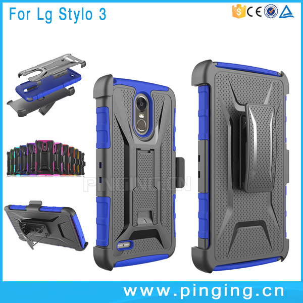 alibaba china supplier 3 in 1 PC+SIL T Type kickstand case cover for LG Stylo 3 case belt clip