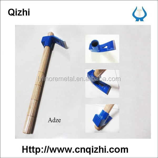 Adze with wooden handle