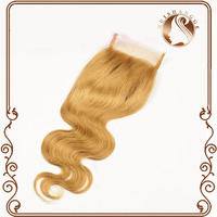 Top quanlity light color silk base hair piece 100 virign remy human hair cheap lace closure