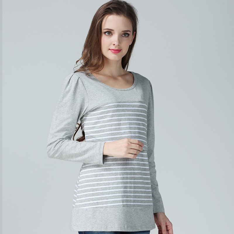 fcde32e2d Maternidad superior de enfermería de algodón de manga larga Camiseta de  Lactancia para las mujeres embarazadas
