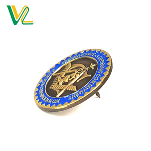 Manufacturer high quality Zinc Alloy Metal Bronze Round Shape for Gift Medal lapel back Badge Pins