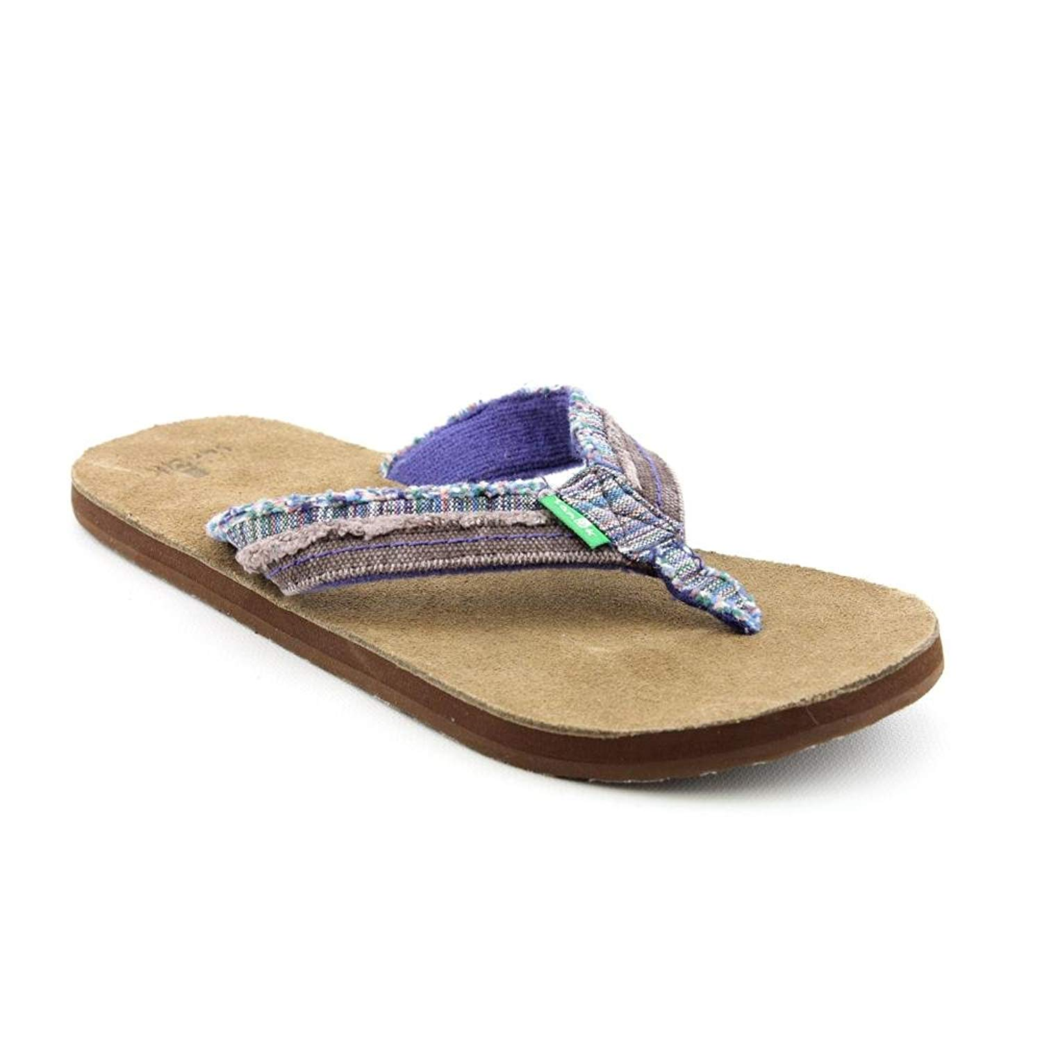 d18df53d9b6 Get Quotations · Sanuk - Sanuk Womens Flip Flops - Fraid Too - Blue -  Women s 5