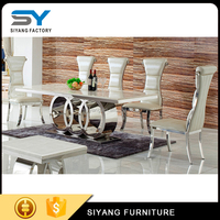 High quality luxury rectangle dining table set with pearl inlay CT005