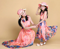 Summer family matching clothes beach chiffon Mother Daughter Dresses Family Clothing Family Look Mother and Daughter