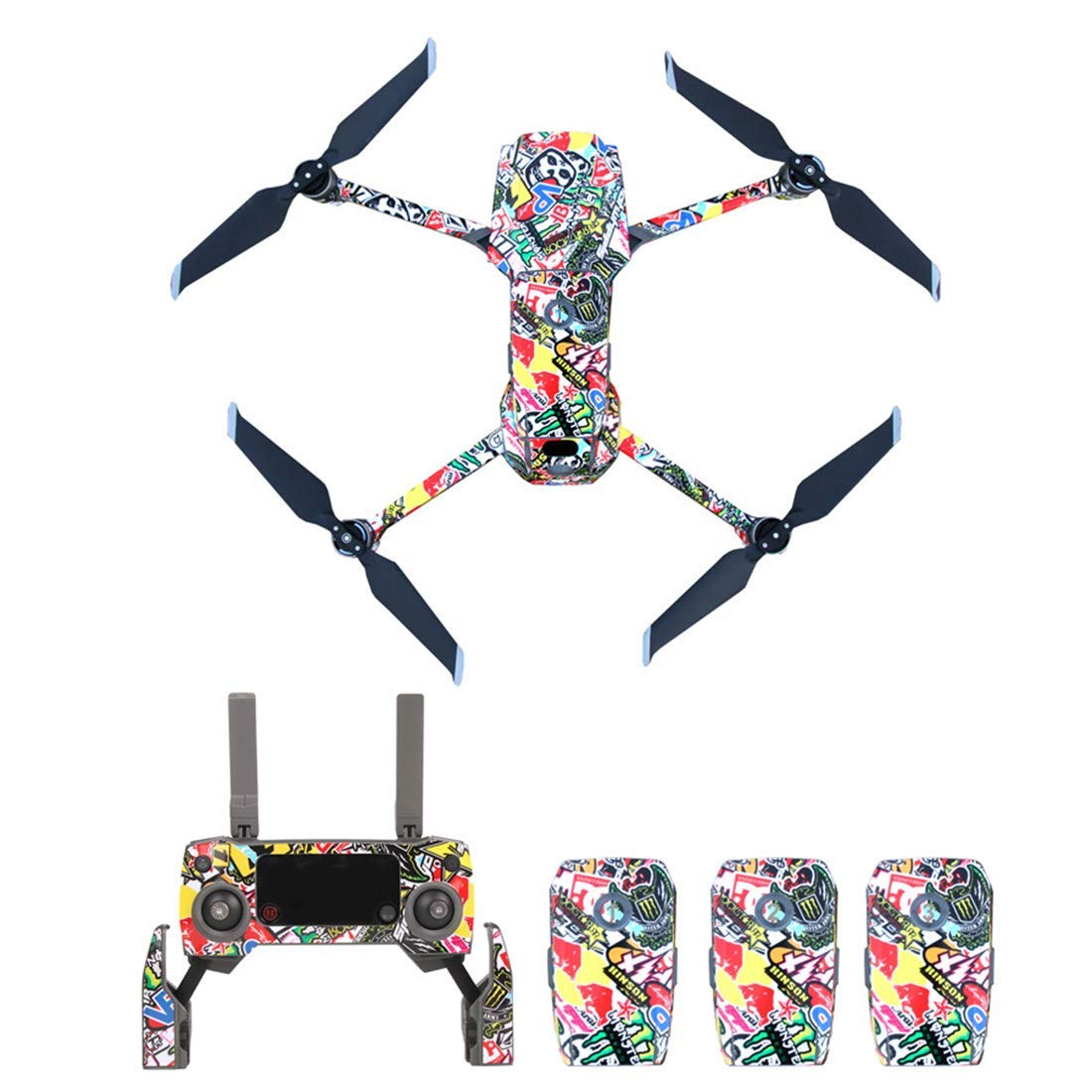 YIFAN Drone Decals Stickers for DJI Mavic 2 PRO/Mavic 2 Zoom, Waterproof Anti Scratch Skin Full Set Decorative Skin Wrap Decal- for Drone + Controller + 3 Batteries