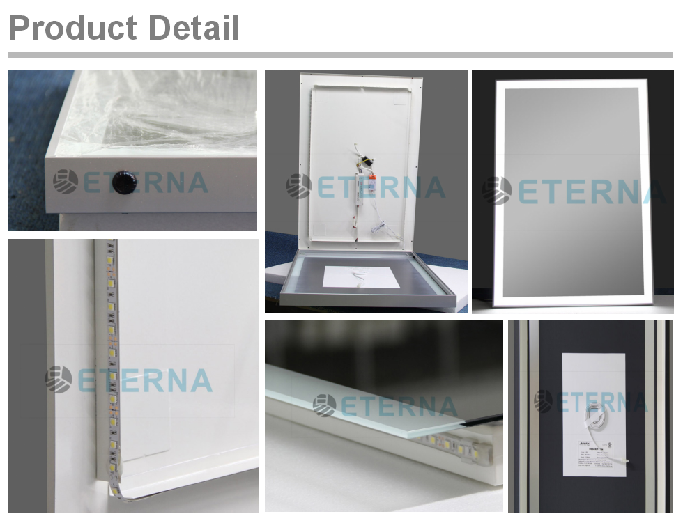 Eterna backlit hotel bathroom led makeup lighted mirror for Where can i buy bathroom mirrors