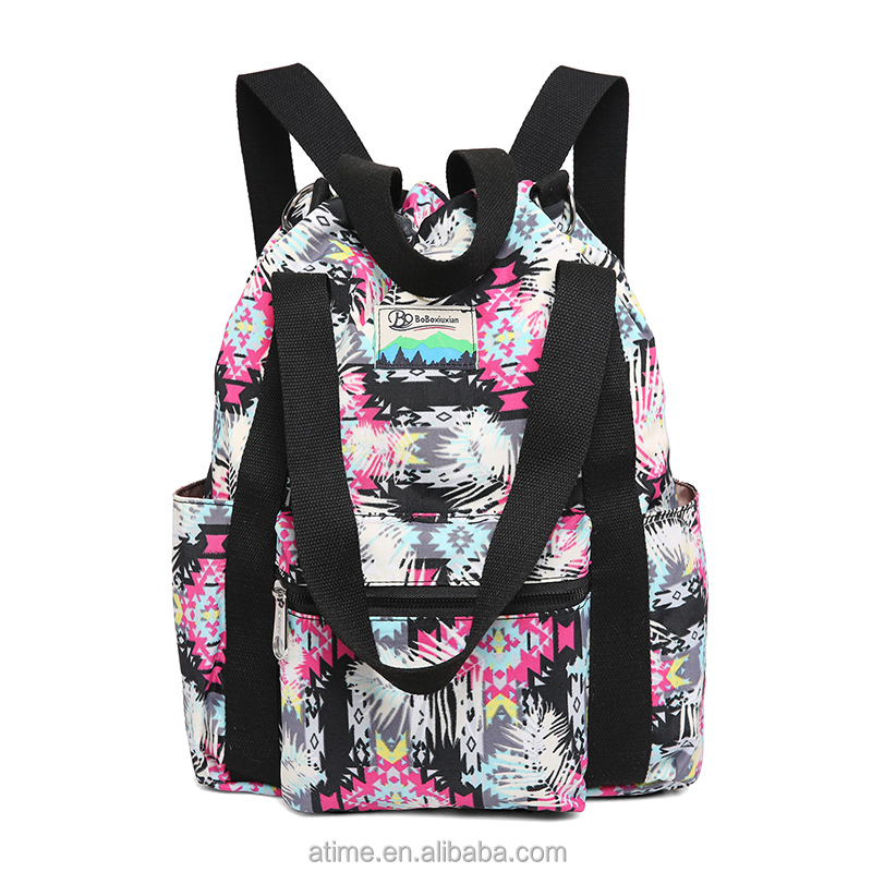 Stylish elegant bright coloured versatile nylon waterproof print <strong>shoulder</strong> pack