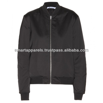 Satin bomber jackets with slim fit long sleeves