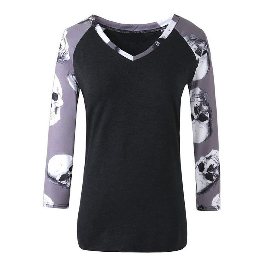 3163f4ad126e Get Quotations · Womens Long Sleeve Shirt, Inkach Girls Halloween Skull  Printed Casual V Neck Shirt Tops Blouse