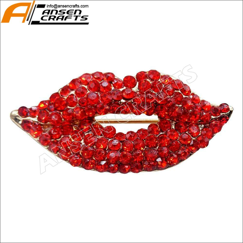 Red Kiss Off Enamel Lapel with Rhinestone