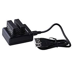 AGPtek® 2 x 1200mAh AHDBT-401 Battery + USB Dual Port Charging Dock Station Compatible with Gopro Hero 4 HD (Black)