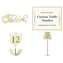 Custom Pattern Wood Restaurant Table Number Holder