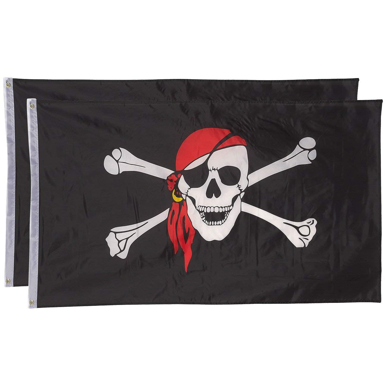 Juvale Pirate Flags - Pack of 2 Jolly Roger Pirate Flags - Skull Crossbones Red Bandana - Perfect Pirate Parties - 3 x 5 Foot Flags Grommets