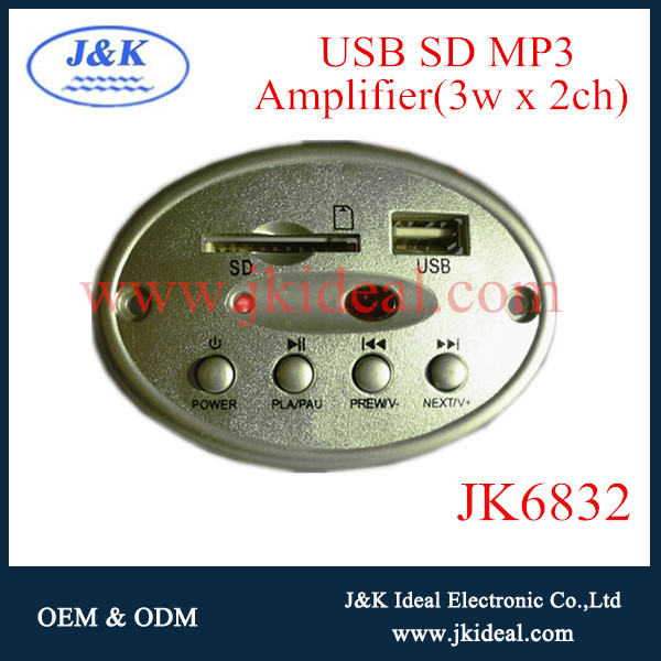 JK6832 USB/SD/MP3/Amplifier 3W*2CH MP3 decoder module for lighting