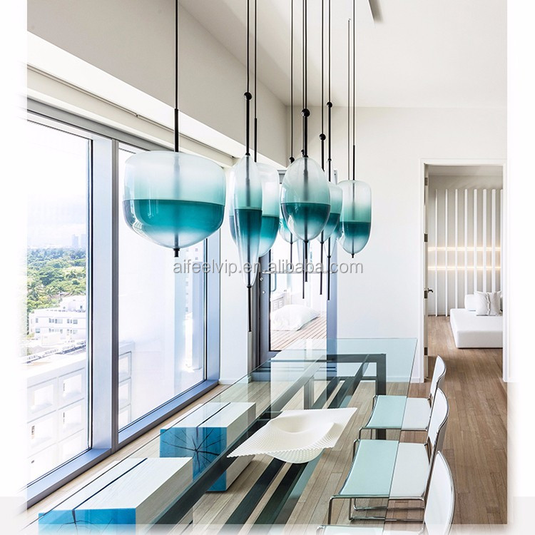 Hand blown glass modern led hanging pendant light for kitchen