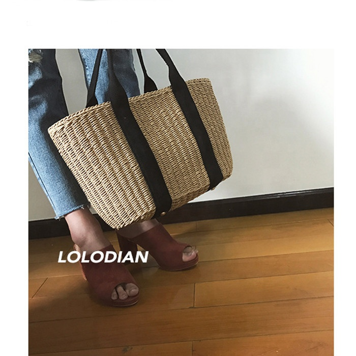 Grass Woven Bags Beach Bags Holiday Travel Simple and Fashionable Tote Rattan Straw Woven Shoulder Bag For Lady