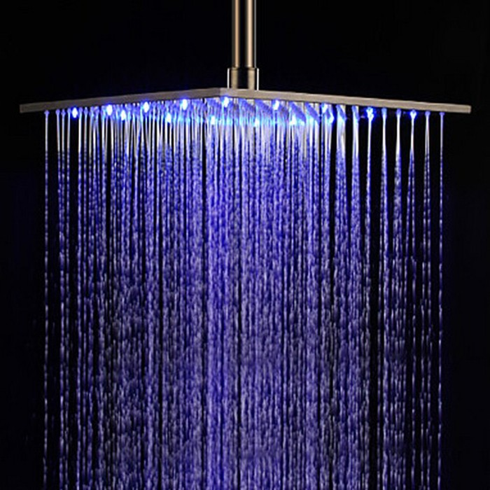 Hydro Rainfall Shower Head With Led Water Glow Generator