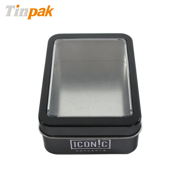 Metal clear top tin