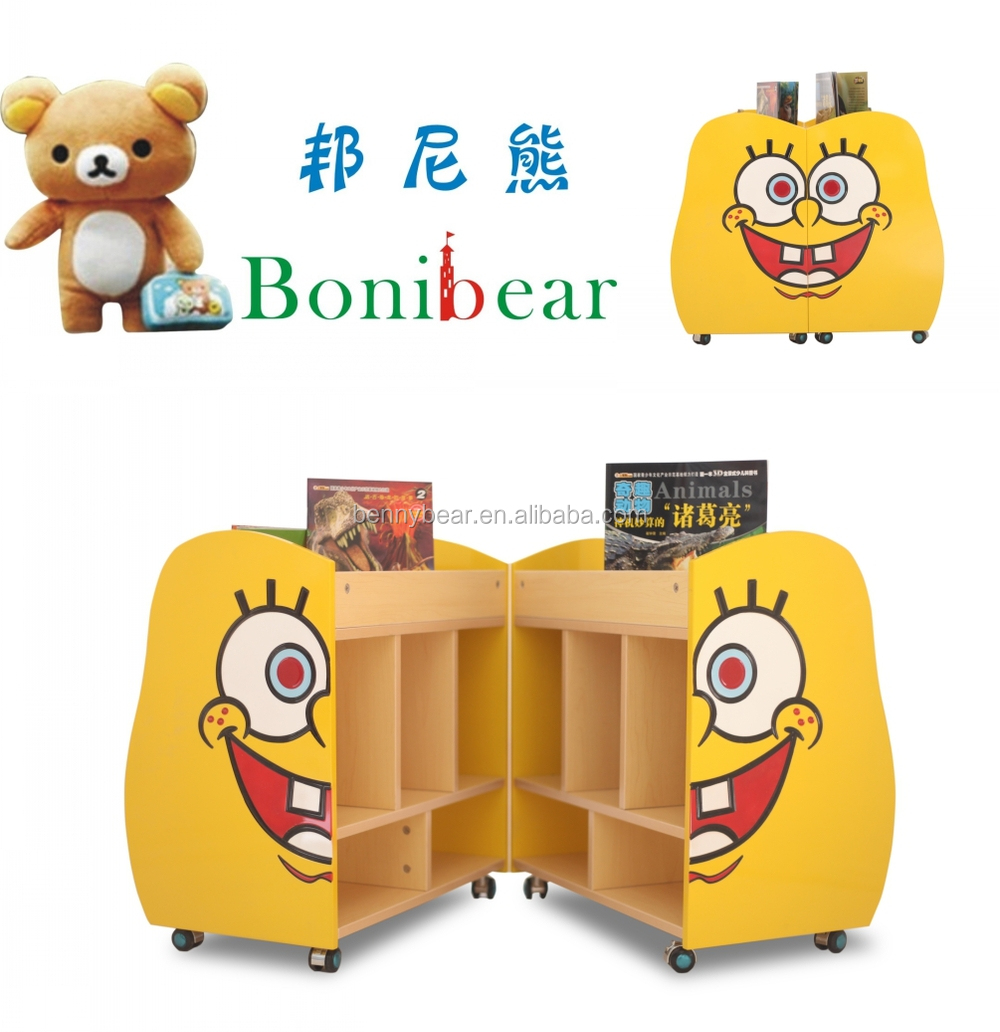 Amazing Kindergarten Furniture SpongeBob Shaped Wooden Bookshelf