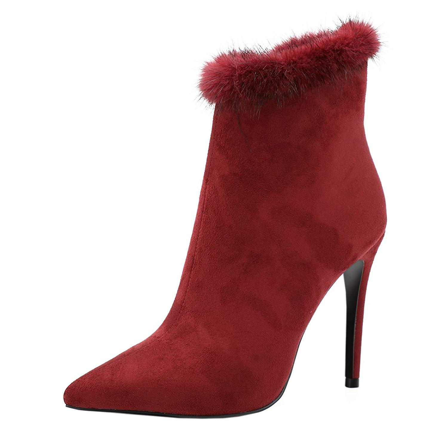 d60b4ccce10 Get Quotations · VOCOSI Women Pointed toe Faux Furry Winter Dress Ankle  Boots Stilettos Booties
