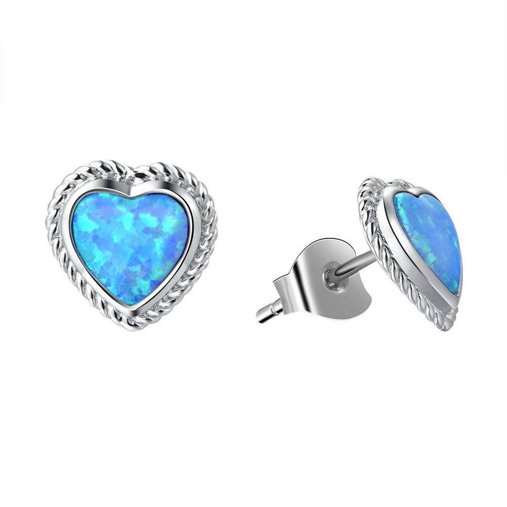 Fancime Sterling Silver Blue Created Opal Stud Earrings Dainty Gold Plated Earrings for Women Girls