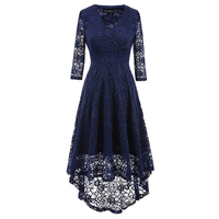 Women's Elegant Illusion Floral Lace Cap Sleeve Bridesmaid Prom Dress