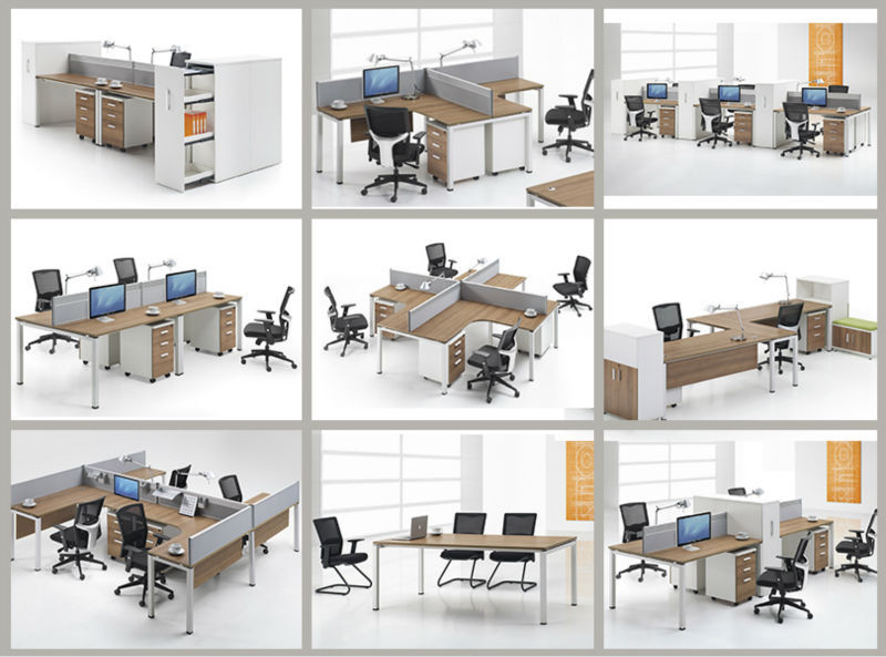 Luxury Office Furniture Partition Systems For 4 Person, Computer Table  Design (LQ
