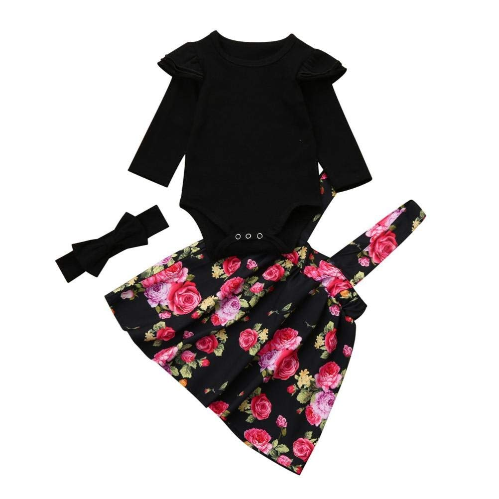 e26140bc3 Get Quotations · Residen Infant Baby Girls Outfits, Romper Tops+Floral Tutu  Dress+ Black Headband, 3Pcs