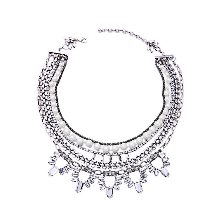 Sgfn1779 / милая девушка ювелирные изделия / многослойных сплава кристалла жемчужина жемчужное ожерелье