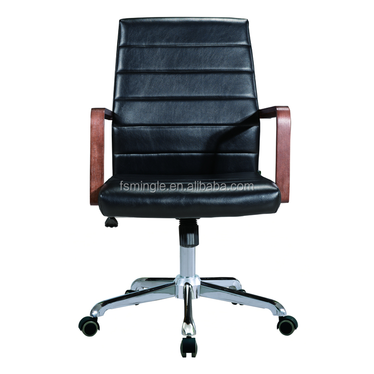 Modern design of black leather Office Chair with plywood armrest