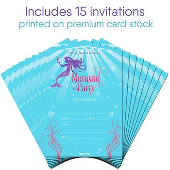 Baby Shower Invitations Bridal Mermaid With Envelopes Party Kids Birthday For S