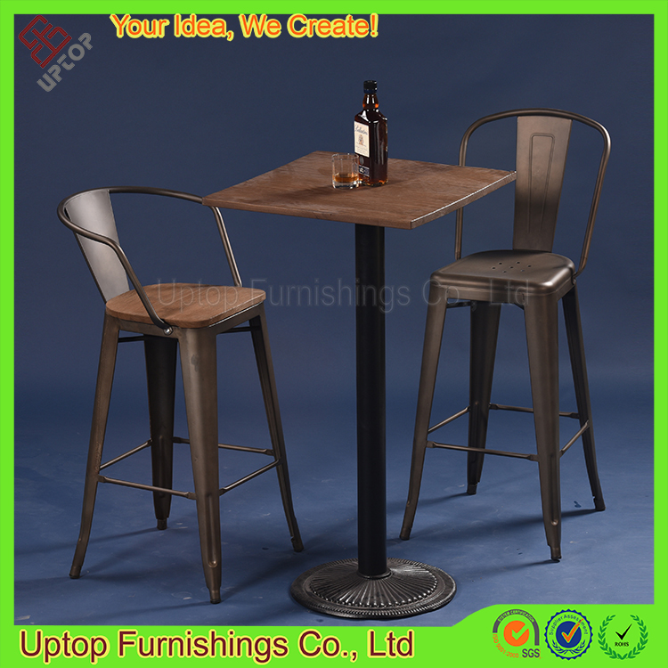 Bar Table And Chairs For Sale: (sp-bt702) Vintage Cast Iron Industrial Chairs And Tables
