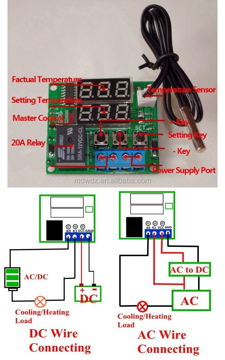 Dc 12v Programmable Mini Digital Thermostat Temperature Controller Wiring Ac Or Switch With Waterproof Ntc Sensor Probe