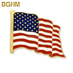 Wholesale gold metal soft enamel US Flag Lapel Pin