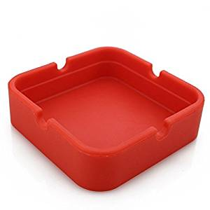 Hong Cheng Silicone Square Ashtray, Pack of 4,Colorfull Premium Silicone Rubber High Temperature Heat Resistant Square Design,Increase, Thickening, Hardness Higher of Ashtray (Red)