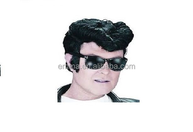 Greaser Grease Wig Danny Zuko Fancy Dress Accessory Black Wig / Elvis 1950 1960 W17103