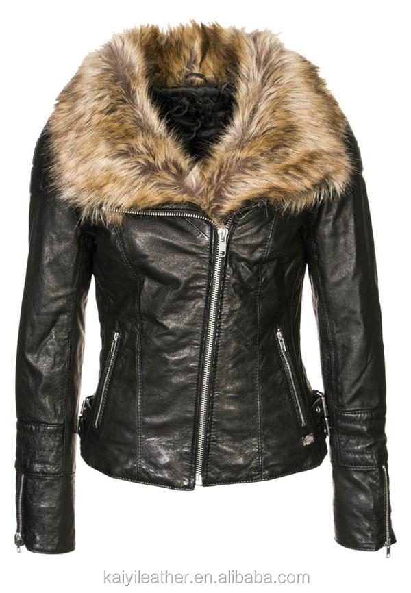 nouveau design noir moto veste en cuir avec de la fourrure. Black Bedroom Furniture Sets. Home Design Ideas