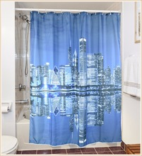 City life polyester digital printing facebook shower curtain