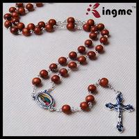 Catholic Wooden Rosary Beads Necklace