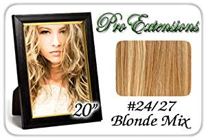 "Pro Extensions Body Wave 20"" x 39"" #24/27 Light Blonde with Dark Blonde Highlights 100% Real Human Hair Clip in Extensions"