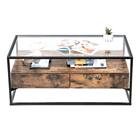 China Wholesale Furniture Top large glass and metal coffee table/ Glass Coffee Table With Metal Legs