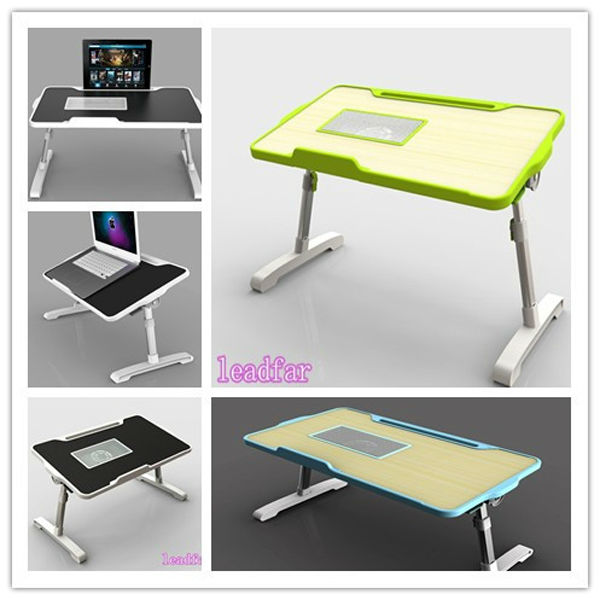 Portable height adjustable bedside table for computer laptop