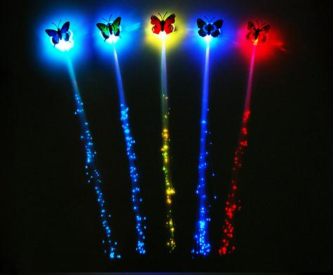 Promotional Party Festive Butterfly Shape Flashing LED Hair, Colorful Light Party Up Flashing LED Hair For Gifts