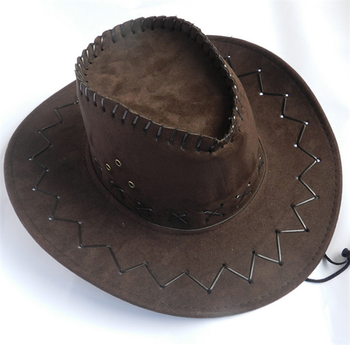 Hot Sell Mexican Suede Leather Cowboy Hat With Cross Stitching ... 95596fbb4db