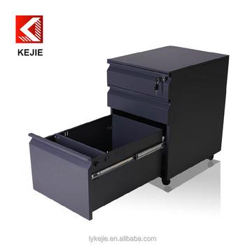 Under Desk 3 Drawer Metal Mobile Pedestal File Cabinet With Central Lock