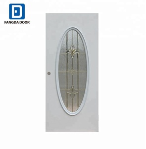 Fangda big oval glass inserts interior metal door slab