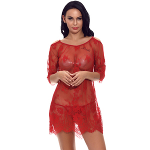 Transparent Latest Design Half Sleeve Red Lace Lingerie Babydoll Sexy