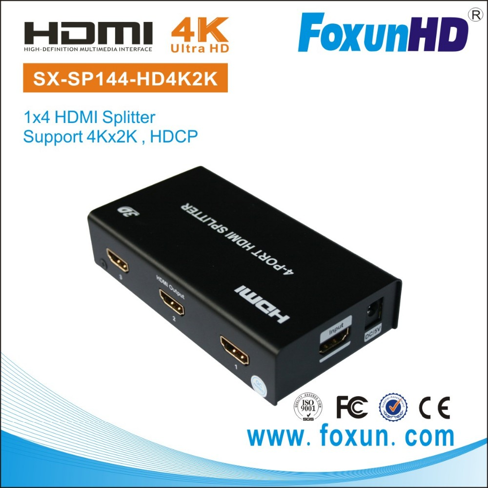 SX-SP144E HD 4K TV 1x4 HDMI Splitter Support 3D Format and HDCP HDMI Splitter