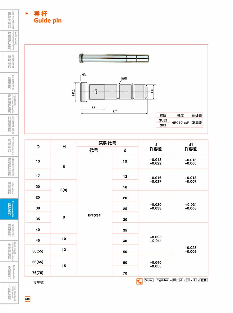 Customized special mold parts supplier nitrided bright ejector sleeve type pin