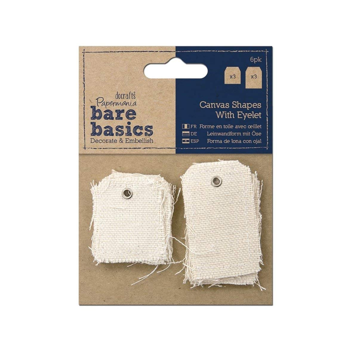 docrafts Papermania Bare Basics Canvas Shapes with Eyelet, Small and Large Tag, 6-Pack